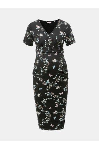Rochie neagra florala cu decolteu suprapus pentru femei insarcinate Dorothy Perkins Maternity