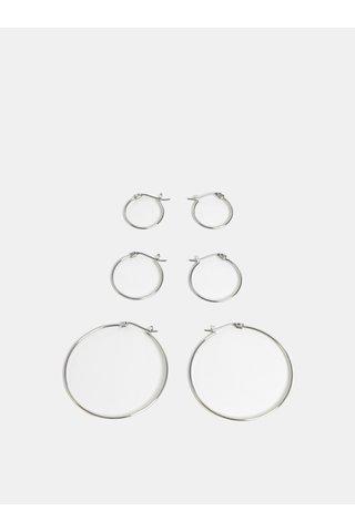 Sada tří párů náušnic ve stříbrné barvě Pieces Linda