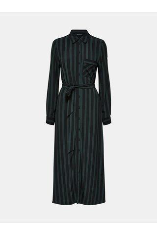 Rochie maxi tunica negru-verde in dungi Selected Femme Florenta