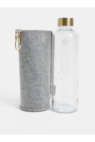 Skleněná láhev s víčkem ve zlaté barvě a obalem EQUA 750 ml