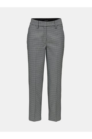 Pantaloni crop alb-negru cu model si talie inalta Selected Femme Holla