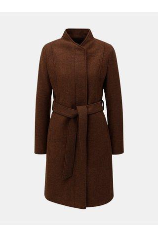 Pardesiu maro din lana cu cordon in talie Selected Femme Dea