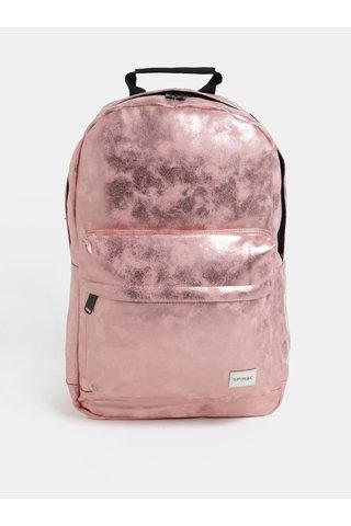 Růžovozlatý lesklý dámský batoh Spiral Core 18 l