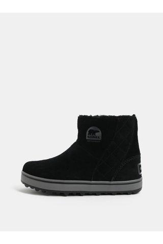 Černé dámské semišové zimní voděodolné boty SOREL Glacy Short