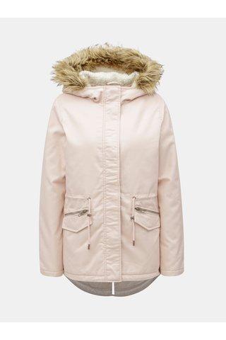 Geaca parka de iarna roz cu blana artificiala ONLY Ruby