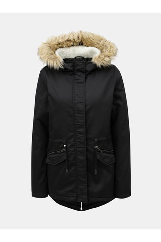 Geaca parka de iarna neagra cu blana artificiala ONLY Ruby