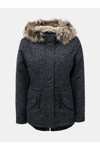 Geaca parka de iarna negru-albastru cu model si blana artificiala ONLY Ruby