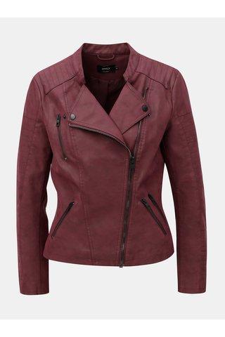Jacheta biker bordo din piele sintetica ONLY