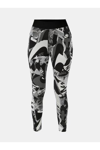 Leggings de dama alb-negru crop cu model si talie inalta Nike Newsprint