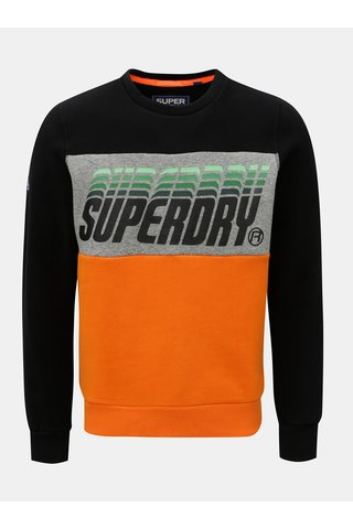 Bluza sport barbateasca oranj-negru cu imprimeu Superdry