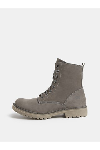 Šedé dámské kožené kotníkové boty Weinbrenner