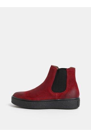 Vínové dámské kožené chelsea boty na platformě Weinbrenner