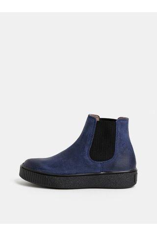 Modré dámské kožené chelsea boty na platformě Weinbrenner