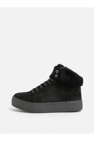 Černé kotníkové semišové zimní boty s umělým kožíškem OJJU