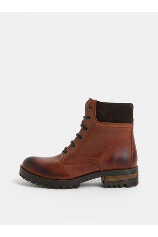 Hnědé kožené kotníkové boty se semišovými detaily OJJU