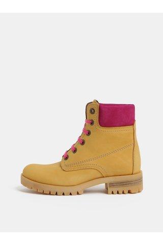 Růžovo-hnědé kožené kotníkové boty se semišovými detaily OJJU