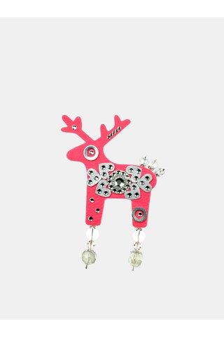 Brosa roz neon mare cu decoratie argintie Preciosa Components Deers