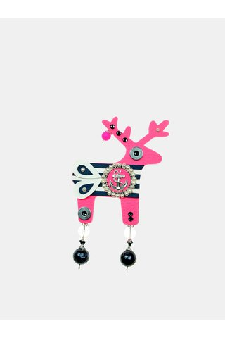 Neonově růžová velká brož s komponenty Swarovski Crystals Deers