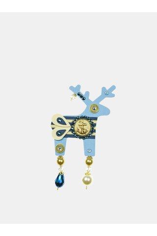 Světle modrá velká brož s komponenty Swarovski Crystals Deers