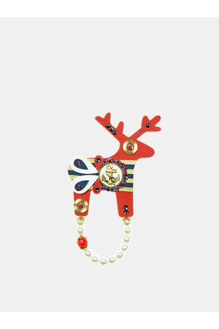 Brosa rosie mare cu ancora placata cu aur Preciosa Components Deers
