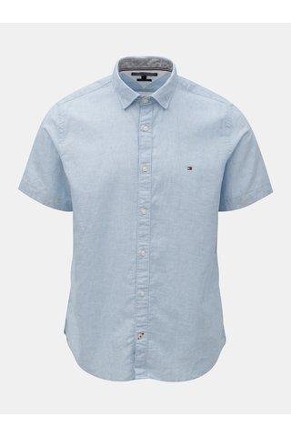 Modrá pánská košile s příměsí lnu Tommy Hilfiger