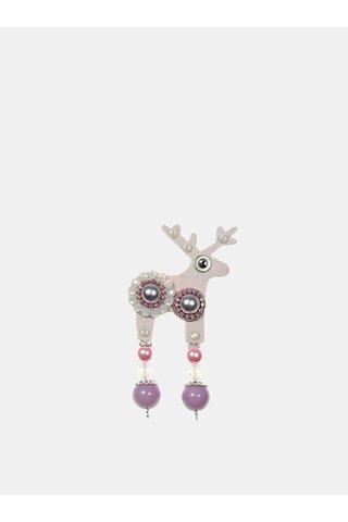 Světle růžová malá brož se zdobením Preciosa Components Deers