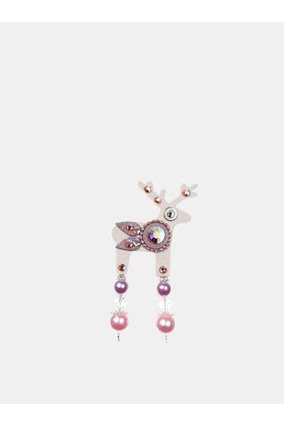 Brosa roz deschis mica cu decoratie slefuita Preciosa Components Deers