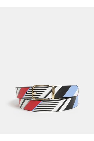 Modro-černý dámský kožený pásek Tommy Hilfiger