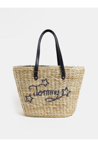 Světle hnědá slaměný shopper Tommy Hilfiger