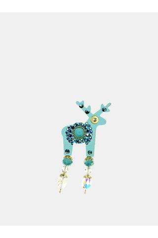 Brosa turcoaz mica cu decoratie in mijloc Preciosa Components Deers