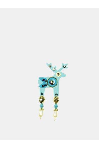 Brosa turcoaz mica cu decoratie slefuita Preciosa Components Deers