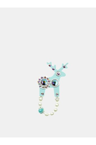 Brosa turcoaz mica cu decoratie argintie Preciosa Components Deers
