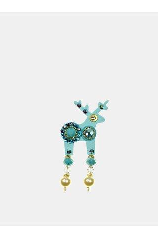 Brosa turcoaz mica cu decoratie Preciosa Components Deers