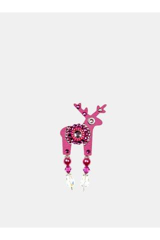 Brosa roz mica cu decoratie in mijloc Preciosa Components Deers