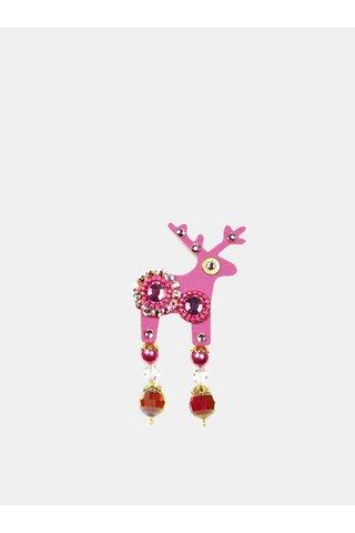 Růžová brož se zdobením Preciosa Components Deers