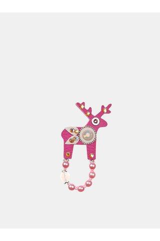 Brosa roz mica cu decoratie slefuita Preciosa Components Deers
