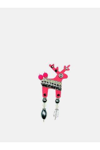 Neonově růžová malá brož se zdobením proužků Preciosa Components Deers