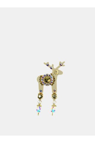 Béžová malá brož se středovým zdobením Preciosa Components Deers