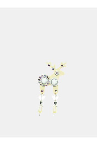Brosa bej mica cu componente Swarovski Crystals Deers