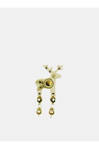 Béžová malá brož s broušeným zdobením Preciosa Components Deers