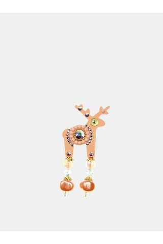 Brosa roz piersica mica cu decoratie in mijloc Swarovski Crystals Deers