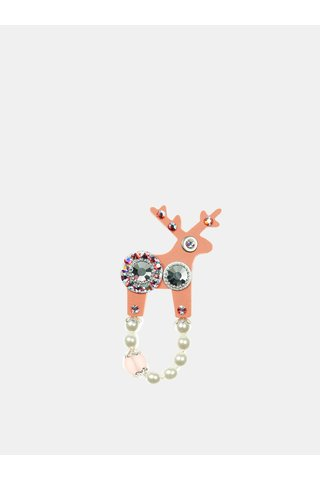 Brosa roz piersica mica cu decoratie Preciosa Components Deers
