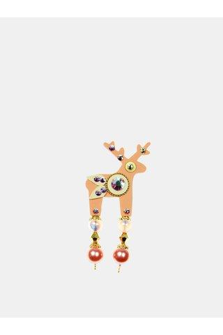 Brosa roz piersica mica cu decoratie slefuita Preciosa Components Deers