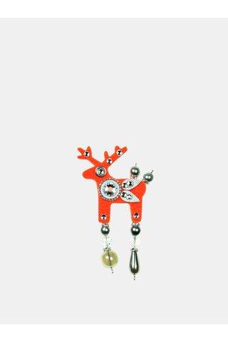 Brosa oranj neon mica cu decoratie slefuita Preciosa Components Deers