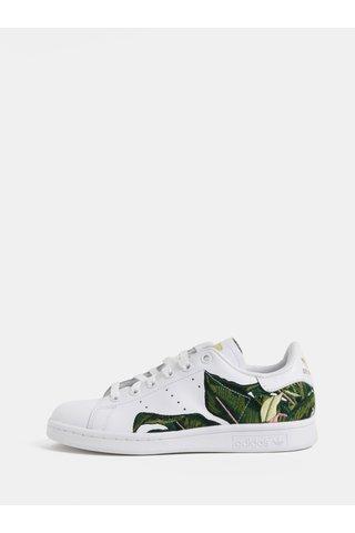 Tenisi de dama albi din piele cu broderie adidas Originals Stan Smith W