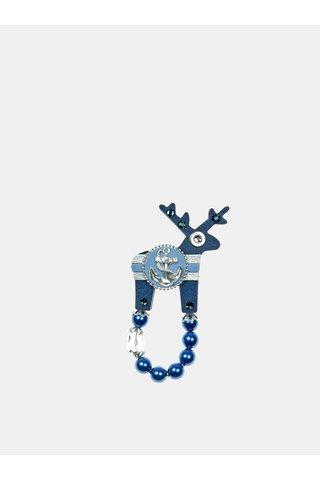 Tmavě modrá malá brož s postříbřenou kotvou Preciosa Components Deers