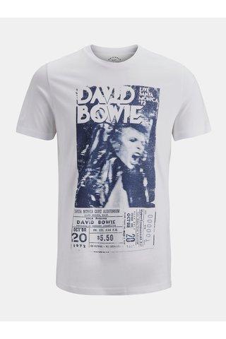 Tricou alb cu imprimeu Jack & Jones Rocked