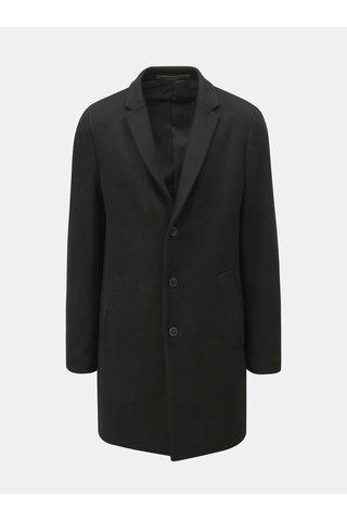 Pardesiu negru cu nasturi si amestec de lana Jack & Jones Morten
