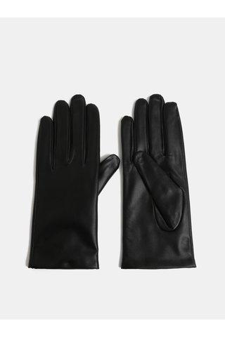 Černé kožené rukavice VERO MODA Vera