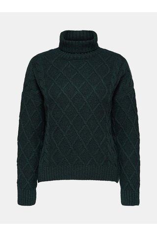 Pulover verde inchis oversize cu guler inalt si amestec de lana Selected Femme Carmi